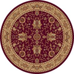 Shop Home Dynamix 7-ft 10-in Round Red Rome Area Rug at Lowes.com