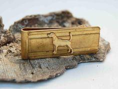 DOG Money Clip Brass Classic Vintage Style Golden Retriever