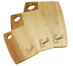 6/15/2012  $17.99  + FREE SHIPPING 3-Pack: Emeril Kitchenware Natural Bamboo Cutting Board Set - Small, Medium and Large with Convenient Handles