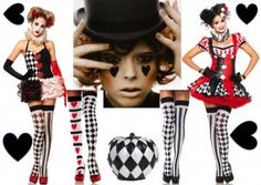 Harlequin Clown Fancy Dress Costumes
