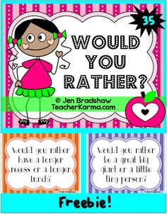 FREEBIE! Would You Rather?  35 FREE Would You Rather slides to display on projector or print out.  Perfect for journal writing, building oral language or conversation starters.  Check it out teachers. #journal #would #rather