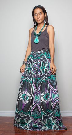 Floor Length Skirt Boho Maxi Skirt Feel Good by Nuichan on Etsy, $49.00