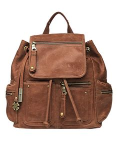 Brown Cargo Leather Backpack  (Lucky Brand)