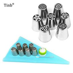Fiesta 10pcs/set Stainless Steel Russian Tulip Icing Piping Nozzles Cake Decoration Cream Tips DIY Cake Tool Bakeware Set Rose Flowers ... (This is an affiliate link) #candymakingsupplies Candy Making Supplies, Diy Cake, Rose Flowers, Bakeware, Tulip, Icing, Cake Decorating, Stainless Steel, Cream