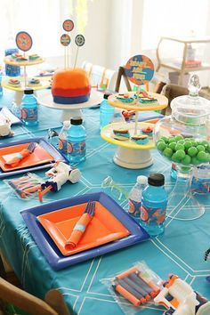 Prepare for battle…a Nerf battle, that is. Arm yourself with these 19 incredible Nerf birthday party ideas, and you'll be on target for one awesome Nerf-inspired celebration. Find suggestions for creating a Nerf cake, cookies, Nerf Birthday Party, Nerf Party, Birthday Themes For Boys, Birthday Party Decorations, Boy Birthday, Birthday Ideas, Birthday Cake, Zombie Party, Birthday Stuff