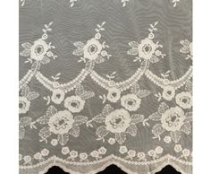 Ivory Floral Rain Double Border Scallop Cotton Lace Fabric