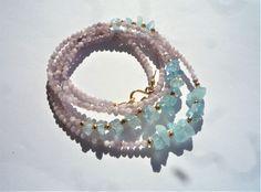 Wrap bracelet/long necklace, Multi wrap bracelet/necklace, Kunzite Aquamarine natural gemstones, Violet purple and blue gemstone necklace,