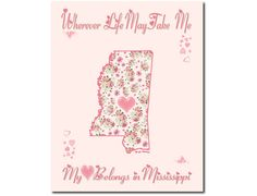 Art Print Hearts and Flowers Mississippi by PatriotIslandDesigns, $14.00