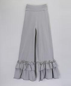Look at this #zulilyfind! Gray Ruffle Pants - Women by Boutique Basics #zulilyfinds, RUFFLE PANTS FOR MOM!