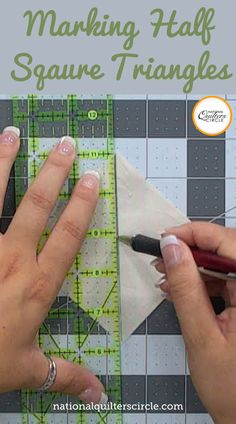 Half square triangles are common units in many quilt designs. Learn what is best to use to mark them and how to accurately mark them so that they come out the correct finished size- Ashley Hough shows you how. Quilting 101, Quilting Fabric, Quilting Ideas, Quilting Projects, Patchwork Tutorial, Patchwork Ideas, Missouri Quilt Tutorials, Quilting Tutorials, Sewing Projects For Beginners