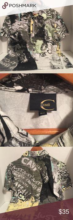 Roberto Cavalli Polo Shirt Graffiti polo shirt for men,, by Roberto Cavalli very good condition ,, Made in Italy 🇮🇹,,, Roberto Cavalli Shirts Polos