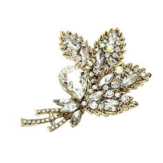 Rosemarie Collections Women's Vintage Style Sparkling Crystal Leaf Brooch ** Want additional info? Click on the image. (This is an affiliate link) #JewelryForSale