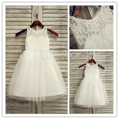 Flower Girl Dress Ankle-length Lace/Tulle A-line Sleeveless Dress - USD $ 54.99 LIGHT IN THE BOX