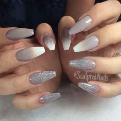 Grey/white ombré with glitter