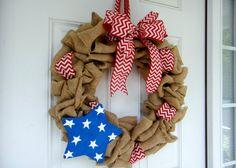 Stars and Stripes Burlap Wreath by Creazi on Etsy