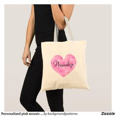 Personalized pink mosaic heart design tote bag
