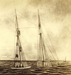 """Drawing of the Christiana, wrecked on Hawes Shoal off Chappaquiddick in January 1866, as described by Charles Tallman to artist B. Russell of New Bedford.  Captain Arthur Leach of Kennebunk was Winfield and Herbert's father and died """"frozen to the riggings of the ship."""" christiana-pic-1-lg.jpg (640×682)"""