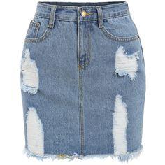 Frayed Denim Pencil Skirt (€12) ❤ liked on Polyvore featuring skirts, bottoms, saias, faldas, blue, blue pencil skirt, short blue skirt, knee length pencil skirt, denim skirt and short denim skirts