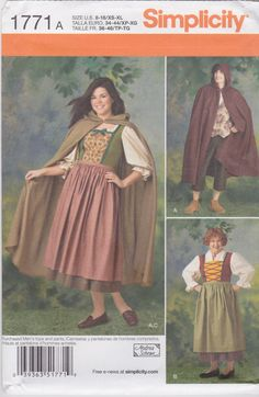 Simplicity Sewing Pattern 1771 A Misses' & Men's Cape Dress Costume New UNCUT by SheerWhimsyDesigns on Etsy