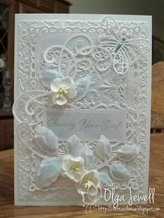 HCD712 Bella Roa Die, Spellbinders Les Papillions die, Romantic Rectangles die, Decorative Labels 8, Foliage, then Resplendent Rectangle, Brocade embossing folder, store bought flowers. Card is 5 X 7
