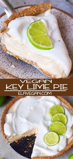 Vegan key lime pie with just 8 ingredients. This dessert recipe is plant-based (egg-free, dairy-free), gluten-free, oil-free, nut-free & refined sugar-free. Best Vegan Desserts, Lime Desserts, Lemon Dessert Recipes, Lime Recipes, Dairy Free Key Lime Pie, Vegan Key Lime Pie, Vegan Pie, Keylime Pie Recipe, Recipes