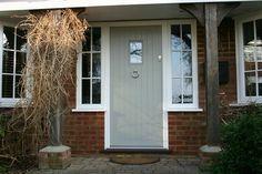 Entrance doors & front doors in Surrey, Hampshire & Berkshire. Example of painted door. Grey Front Doors, Front Door Porch, Front Doors With Windows, Porch Doors, Front Door Entrance, House Front Door, Front Door Colors, Front Door Decor, Porch Windows
