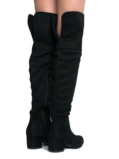 b15400fb8c2f Low Heel Over The Knee Boot Black Suede 9 BM US     Very nice