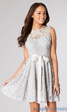 Short Sleeveless Lace Dress  at SimplyDresses.com