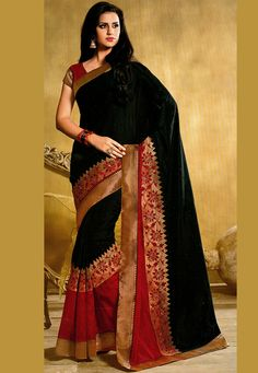 Black and Red Art Silk Saree with Combo Blouse: SBM4322. Exquisite, I love it.