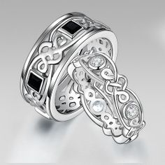 925 Sterling Silver Couple Rings For Wedding Bands with Celtic Style