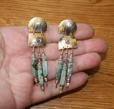 Tabra Golden Turquoise and Amethyst Post Earrings! #Tabra #DropDangle