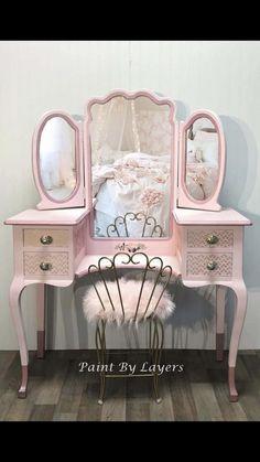 Girls Pink Vanity with Trifold Mirror and Chair image 0 Little Girl Vanity, Girls Vanity, Pink Vanity, Painted Vanity, Vanity Set, Pink Dressing Tables, Dressing Table With Chair, Dressing Table Vanity, Vintage Dressing Tables