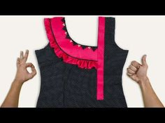 Latest Neck Design with frill work // Harmeet neck Design Kids Summer Dresses, Dresses Kids Girl, Kids Outfits, Baby Outfits, Simple Kurti Designs, Salwar Designs, Stylish Blouse Design, Fancy Blouse Designs, Girls Top Design