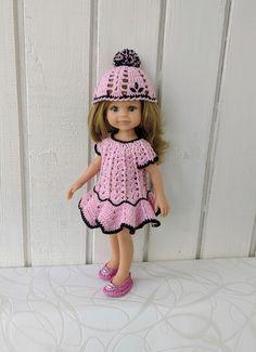 "Clothes for dolls Paola Reina doll 12""/32 cm crochet dress hat for doll clothing for doll Dress Hats, Handmade Dresses, Black Cotton, Doll Clothes, Flower Girl Dresses, Cap, Dolls, Wedding Dresses, Crochet"