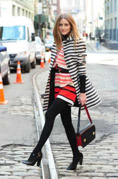 Olivia Palermo in Peter Som for Kohl's striped romper and a striped coat