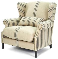 Napoleon French Fog Linen Blue Stripe Wingback Arm Chair - transitional - Armchairs - Kathy Kuo Home