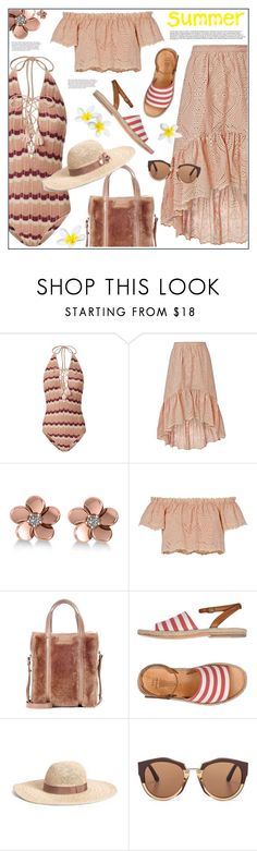 """Summer"" by anne-irene ❤ liked on Polyvore featuring Suboo, LoveShackFancy, Allurez, Balenciaga, n.d.c., Marni, stripes, onepieceswimsuit, summerhat and summer2017"