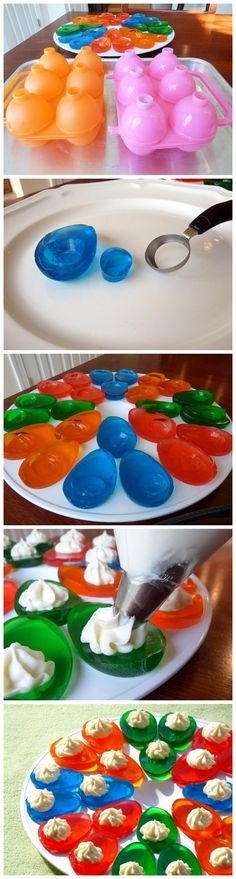 Colorful Jello Eggs filled with vanilla pudding.... Shoot make these sugar free with fat free cool whip and these will be great year round. Yum. Good snacky