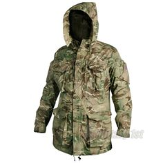 Helikon PCS Parka in MTP camo. Comfortable & windproof with multiple pockets & adjustable hood. Cut to fit more loosely, allowing it to fit over other layers of clothing more easily. Designed to provide perfect protection against wind and water, whatever the weather, the field parka is perfect choice for all sorts of outdoor activities such as hiking, fishing or hunting. £89.99