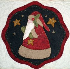 Four CHRISTMAS CANDLE MAT PENNY RUG PATTERNS to choose from for Wool Felt