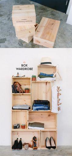 Estantería DIY con cajas de vino