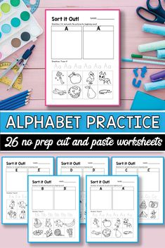 Beginning Sound cut and paste printable activities for preschool and kindergarten. These pack of worksheets will make teaching and practice English uppercase and lowercase letters much easier.  The kids practice letter sort and match in a fun and engaging way using cute pictures. These pages are perfect for morning work, small groups, early finishers, literacy centers and more. #alinavdesign #alphabetpractice #alphabetworksheets #abcs #beginningsound #cutandpaste craft