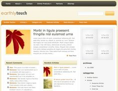 EarthlyTouch is a smooth and calming design, but don't let its modesty fool you. This is an advanced WordPress theme with great features, including custom thumbnail images and a custom index loop that includes recent comments, featured posts, and random articles. This is a great design for those who want to turn their blog into a professional website.