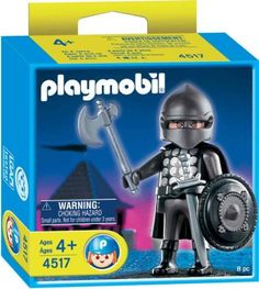 Playmobil Black Knight with Armor by Playmobil. $9.99. Special Figure Black Knight. Limited Edition release. Ages 4 and up. This limited Edition release includes sword, axe, shield, helmet and cape. A duanting figure for any Playmobil Castle scene!