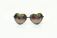 Óculos coração espelhado preto