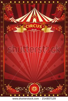 Fun red circus poster. A background with a large copy space and a big top for your message. - stock vector