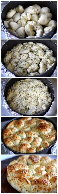 Delicious and Easy Parmesan Garlic Dinner Rolls Pull-Apart Style. So soft and yummy, it& the perfect addition to any weeknight meal. Thanksgiving Recipes, Holiday Recipes, Great Recipes, Dinner Recipes, Favorite Recipes, Christmas Recipes, Christmas Dinners, Dinner Entrees, Dinner Dishes