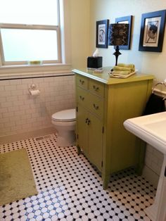 Apple green with black and white bathroom.