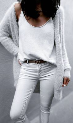Jazy Goh + killing it + all white spring outfit + jeans + tank top + gorgeously soft faux fur cardi from + leather belt + break up the total white wash Top: Saboskirt, Cardi: Asos, Jeans: Parker Smith. Jazy Goh + killing it + all white spring outfit. Komplette Outfits, Girly Outfits, White Outfits, Spring Outfits, Casual Outfits, Spring Wear, All White Outfit, Office Outfits, Jean Outfits