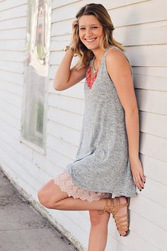 How cute is this outfit? Pair a lace extender with your favorite summer dress for a cute spin on an old outfit! Dress Extender Slip, Shirt Extender, Short Dresses, Summer Dresses, Summer Clothes, Diy Clothes, Girl Fashion, Fashion Dresses, Long Tops